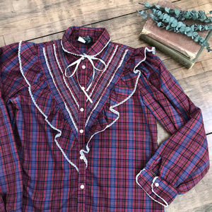 Vintage Parallel lines western plaid button down